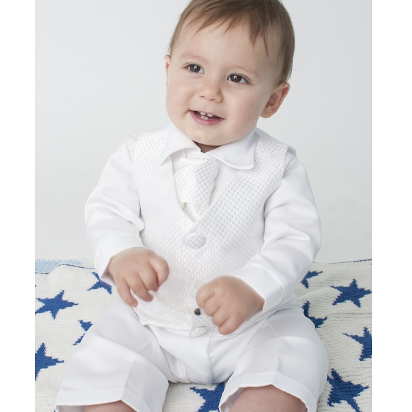 8df626ee7a76 Baby Boys White Check 4 Piece Satin Suit Christening Baptism Wedding -  childrensspecialoccasionwear.co.uk